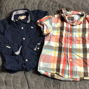 Set of 2- boys button down shirts